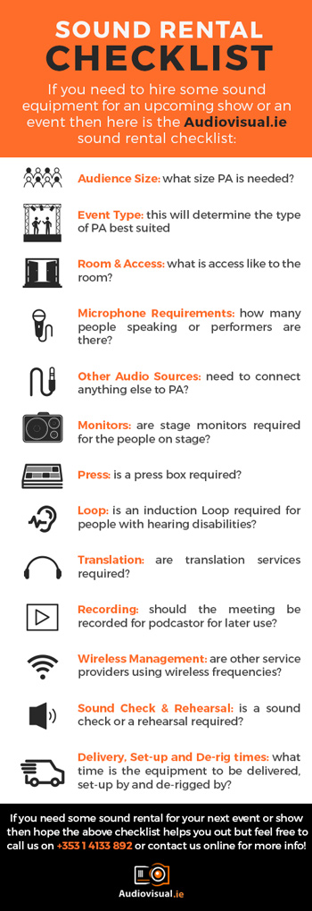 Sound Rental Checklist - Guide To Renting Sound Systems