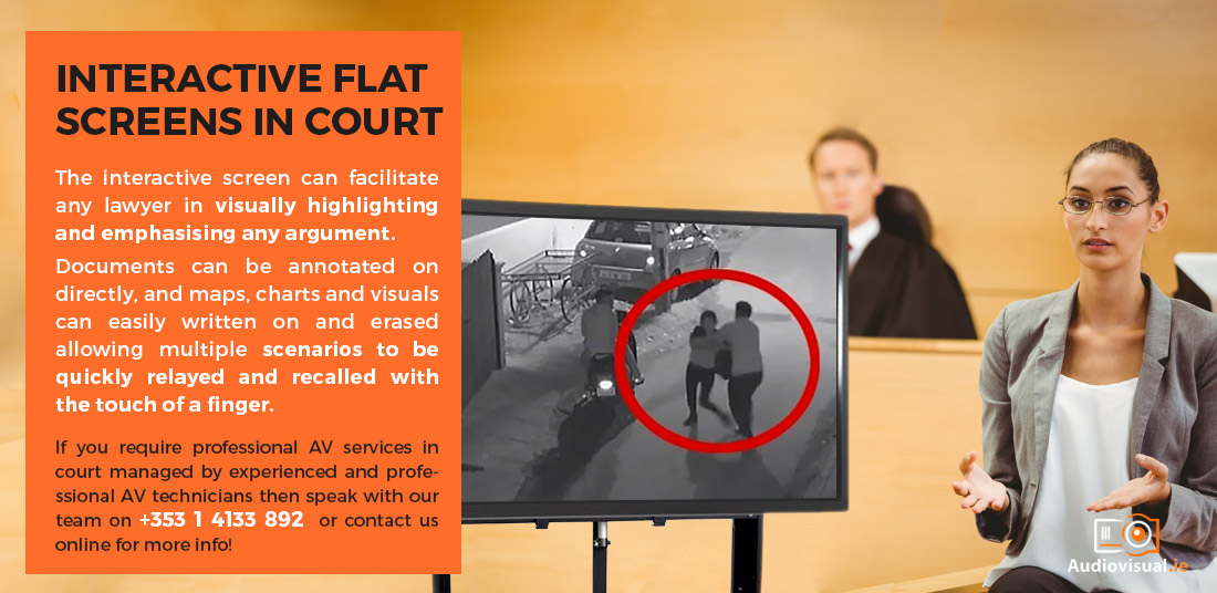 Audio Visual Services for The Four Courts, Dublin - Interactive Flat Screen Rental