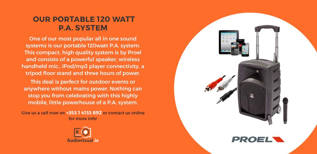 Proel Portable 120 Watt P.A. System Rental - Audiovisual Ireland
