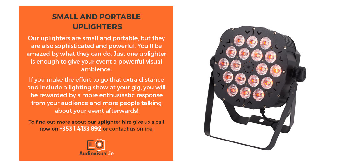 Small Portable Uplighter Hire - Audiovisual Rental Dublin