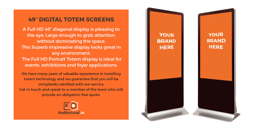 49 inch Digital Totem Screens Event Hire - Audiovisual Ireland H3